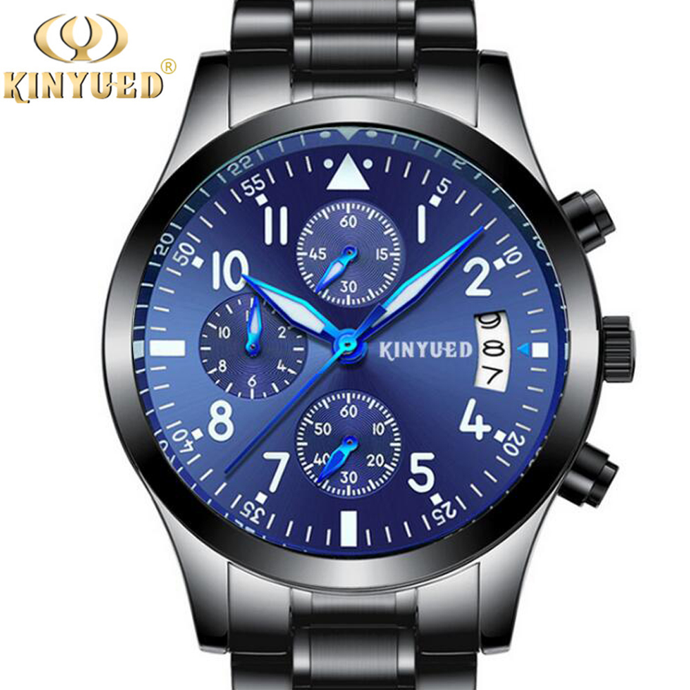 KINYUED New Pilot Mens Chronograph Wrist Watch Waterproof Date Top Luxury Brand Stainless Steel Diver Males Geneva Quartz Clock new forcummins insite date unlock proramm