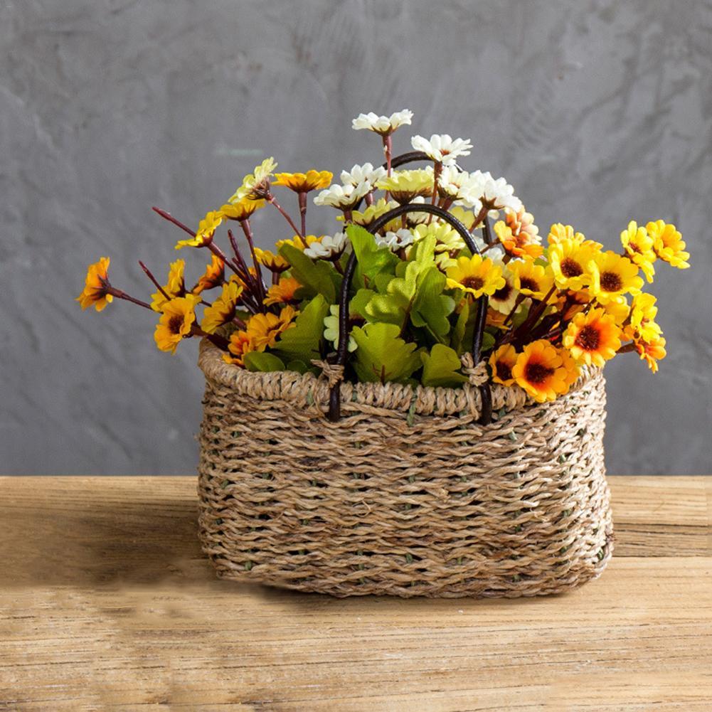 Straw Woven Flower Basket Handmade Hanging Basket Craft Garden Plant ...
