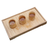 Rectangle Kung Fu Tea Tray Wooden Saucer Bamboo Teapot Trivets Drain Tea Ceremony Container Storage Tray