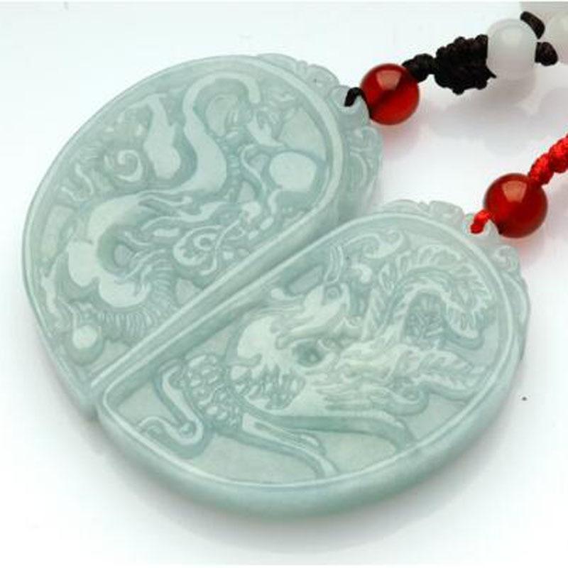 yu xin yuan Fine Jewelry Jadeite Jades Pendant Handmade Carved Chinese Dragon Phoenix Lovers' Pendants Amulet Jewelry+Rope