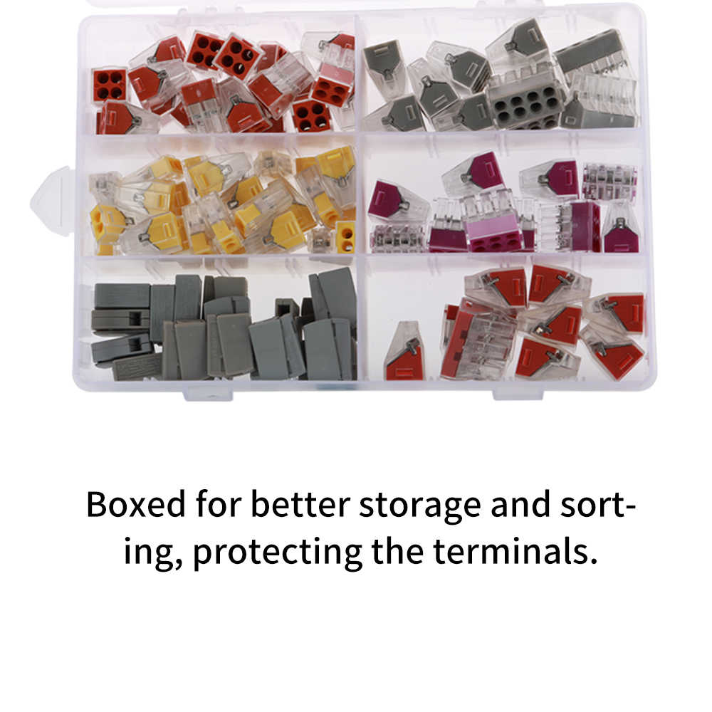 100pcs Kit in Plastic Box Hard Wire Connection Terminals Wire Crimp Butt Terminal PCT Connector Wire Connector Terminals
