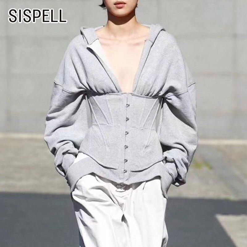 SISPELL été décontracté sweat à capuche pour femmes col en V à manches longues ourlet mince solide vêtements femme 2019 mode nouvelle marée