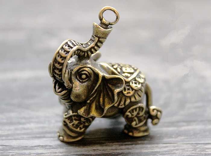 Brass Lucky Money Auspicious Elephant Ornaments Key Ring Pendant EDC Multi Tools sanrenmu sk009d lucky number 9 carabiner with key ring