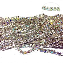 SS6 SS8 SS10 SS12 SS16 10m AB Crystal Bright Strass Silver Base Densify Claw Sew On Rhinestone Cup Chain For Dress Design