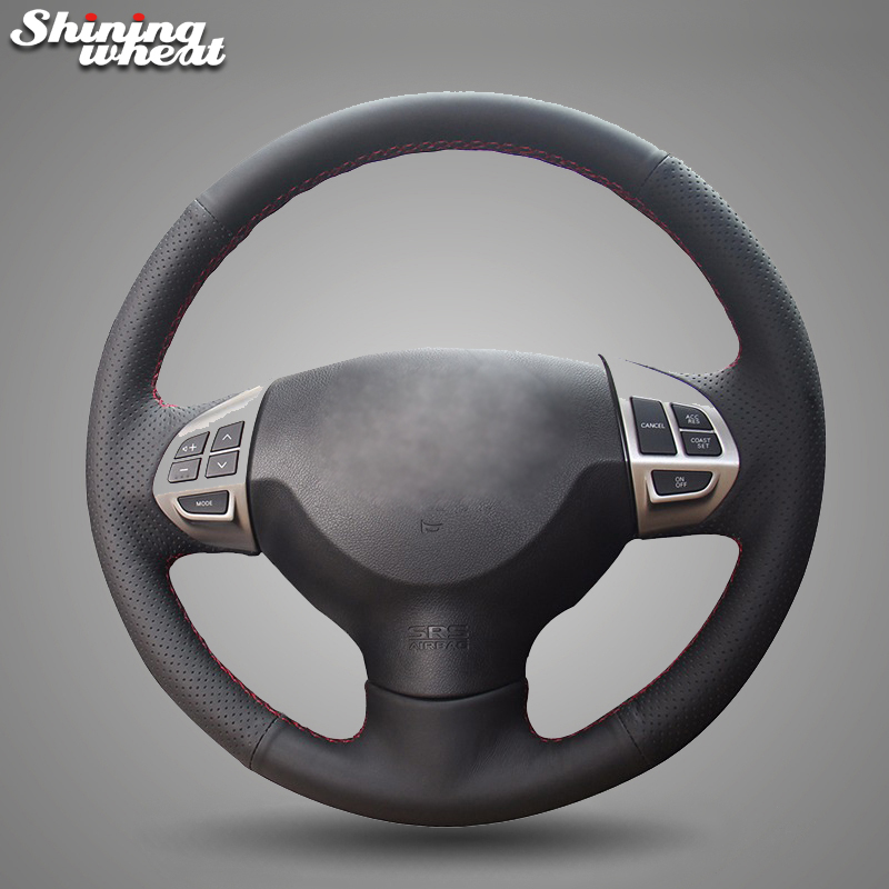 Shining wheat Black Genuine Leather Steering Wheel Cover for Mitsubishi Lancer EX 10 Lancer X Outlander ASX Colt Pajero SportShining wheat Black Genuine Leather Steering Wheel Cover for Mitsubishi Lancer EX 10 Lancer X Outlander ASX Colt Pajero Sport