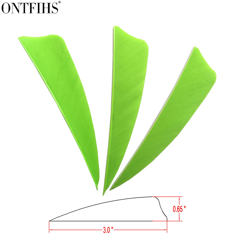 200pcs ONTFIHS 3 Fluorescent Green Or Mixed Color Shield Cut Archery Fletches Turkey Feather Fletching Arrow Feathers