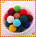 Mixed colors Chunky Round 20MM Acrylic Handmade Woven Crochet Beads Free Shipping 100 Pieces Jewelry Chunky Wool Beads