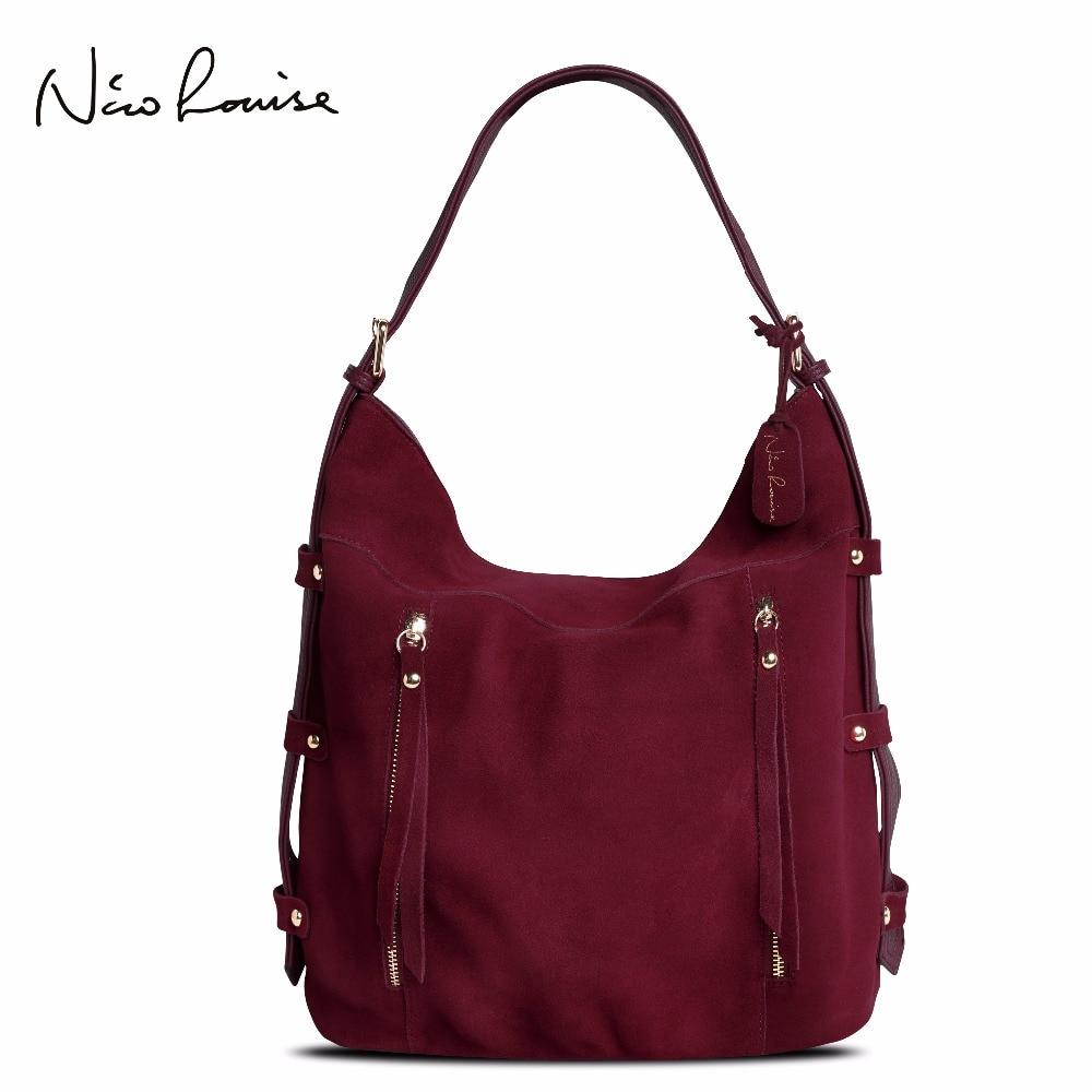 Moda Mais Recente Mulheres Reais Couro Rachado Camurça Sacola Novo Lazer Grandes Top-handle Bags Lady Casual Crossbody Ombro bolsa