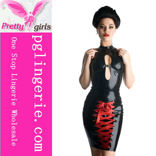 Free Shipping Hot Sale PVC Sexy Clubwear Lingerie sexy clubwear catsuit lace up bodysuit