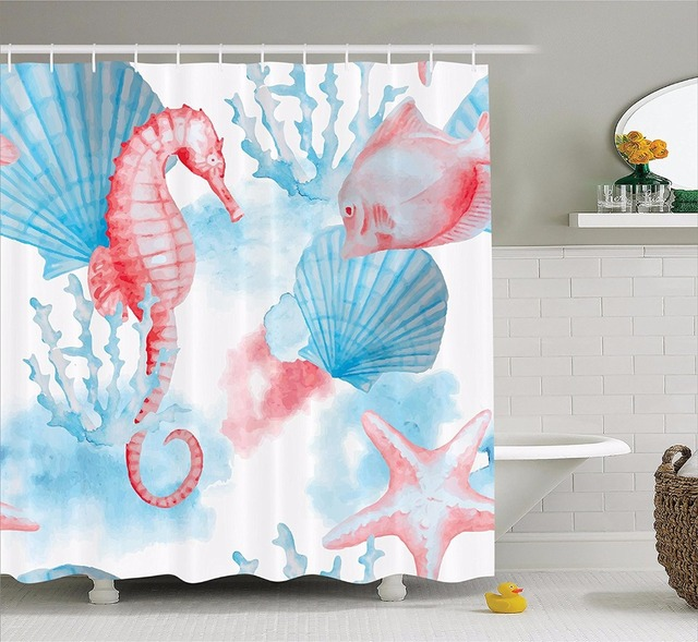 High Quality Arts Shower Curtains Watercolor Hippocampus Starfish Shell Coral Blue Bathroom Decorative Modern