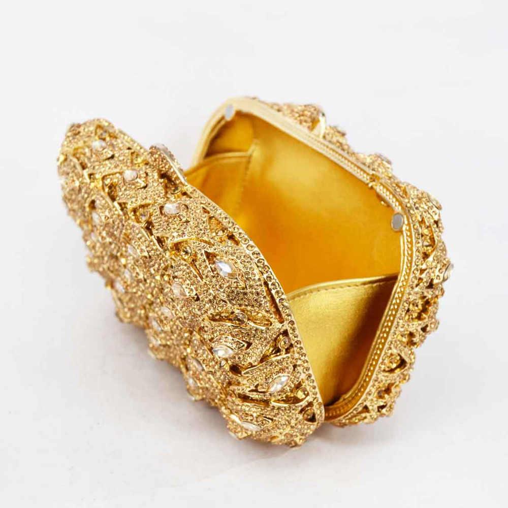 Элегантные Сверкающие Золотые Серебряные хрустальные вечерние клатчи для женщин со стразами для невесты, свадьбы, выпускного сумочки SC482