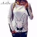 ArtSu2017 Women Hoodies Lovely Animal Cartoon Printed Long Sleeve Casual Sweatshirt Rabbit Zipper Pullovers Sweatshirt EPHO80019
