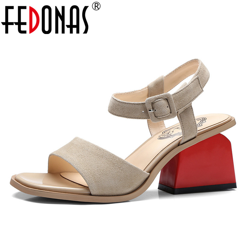 FEDONAS 2020 New High Heels Sandals Women Cross Strappy Summer Genuine   Leather   Shoes Woman Retro   Suede   Wedding Party Shoes