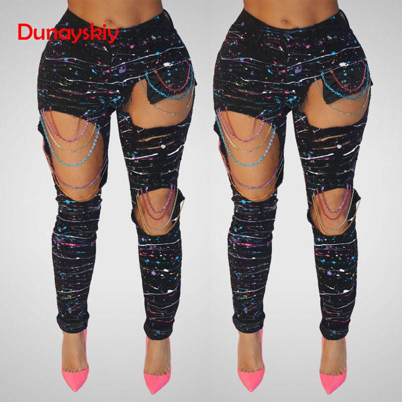 Chains Ripped Jeans New Sexy Jeans With Holes Color Paint Color Woman Holes Denim Hole Beggar Jeans For Women Plus Size