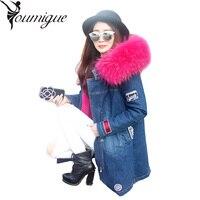 Winter Coat Women Long Fur Jacket 2016 Raccoon Fur Faux Fur Lined Denim Jeans Parka Winter