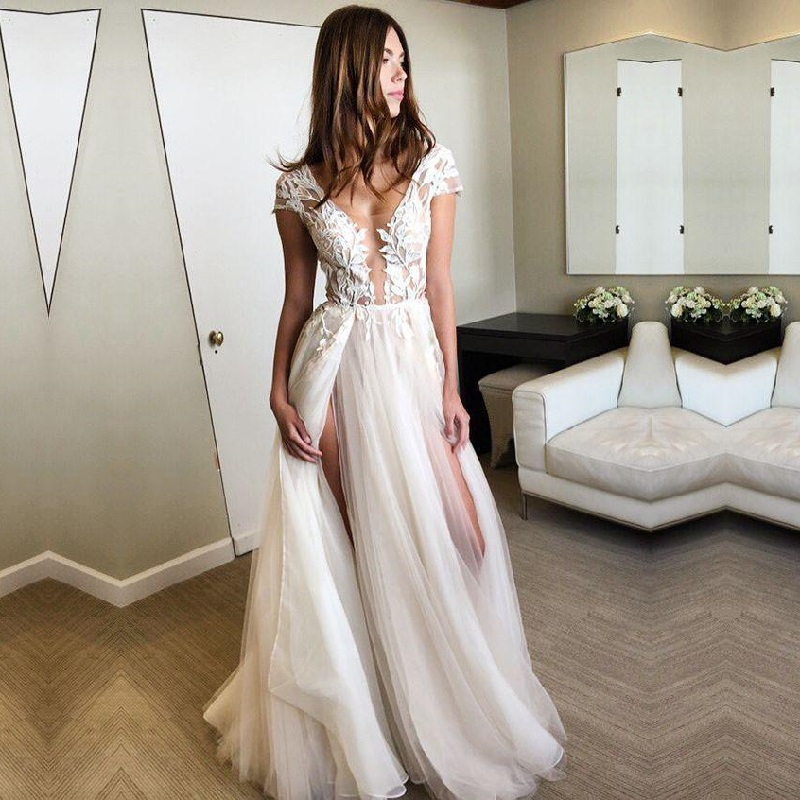 Charming Cap Sleeve Wedding Dresses 2019 Deep V Neck Appliques Lace Bridal Gowns Sexy Split Tulle