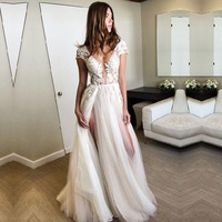 Charming Cap Sleeve Wedding Dresses 2019 Deep V Neck Appliques Lace Bridal Gowns Sexy Split Tulle Vestido de Noiva