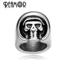 REAMOR Ghost Skull Beads 8mm Hole Size 316l Stainless Steel Big Hole Beads Men Leather Bracelet Beads DIY Jewelry Making