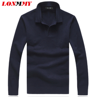 LONMMY Plus size 7XL 8XL Lapel collor Sweater men sueter hombre pullover men clothes 2018 mens sweater pullover masculino NAVY