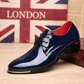 Os Homens Se Vestem Sapatos de Couro de patente Lace-Up Oxfords Flats Moda Festa de Casamento de Negócios Shoes Zapatos Masculino 2 # D35