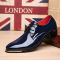 Patent Leather Men Dress Shoes Lace-Up Business Oxfords Flats Fashion Party Wedding Shoes Zapatos Male 2#D35