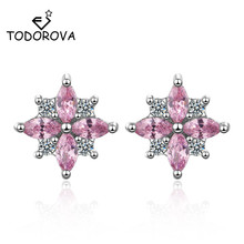 Todorova New Design Wedding Jewelry Luxury Clear Pink AAA Cubic Zircon Earrings Elegant Flower Stud Earrings for Women Gift недорого