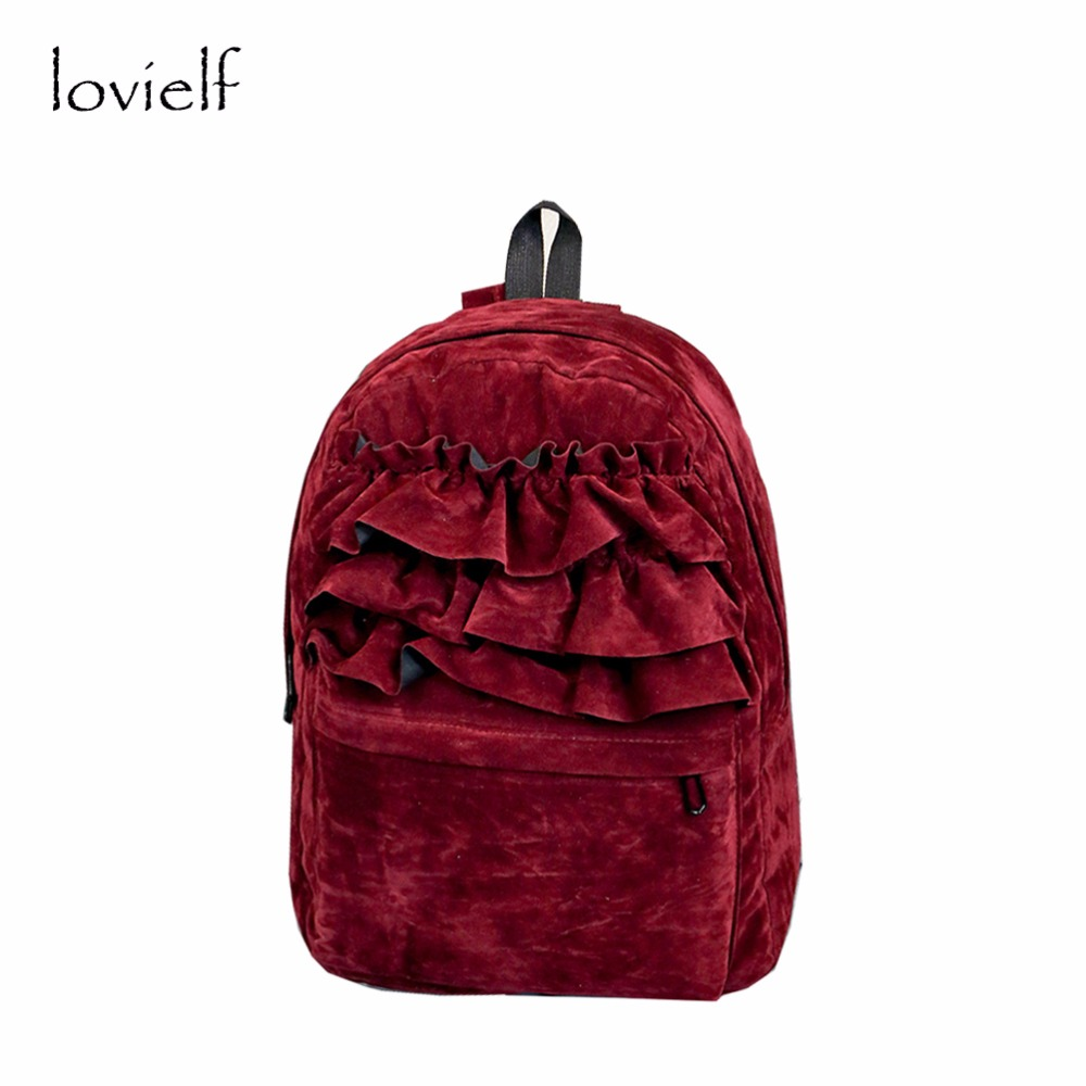 lovielf NEW Autumn Winter Thick cute Girl Women Teenager Ruffles falbala Suede Book Schoolbag Backpack Bags adolescent adolescent