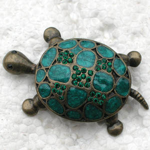Pin Brooches Woman-Accessories Rhinestone Turtles Enamel 4-Colors 12pcs/Lot C101252 Wholesale