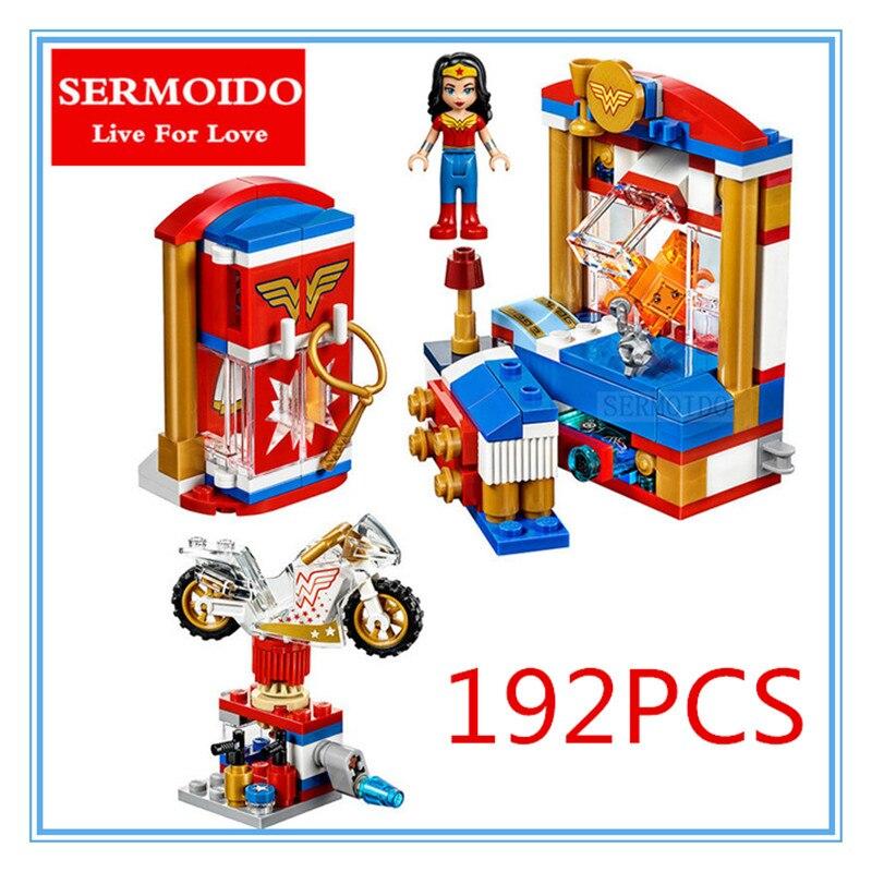 Sermoido супер герой Обувь для девочек Wonder Woman общежития Building Block детей DIY образования кирпичи Игрушечные лошадки подарок Совместимость с 41235 B255