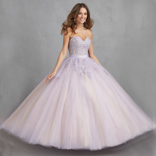 Vnaix Q2010 Lilac Romantic Long Lace Quinceanera Dresses 2015 Cheap Sweetheart Backless Vestidos Pageant Party Prom Dress