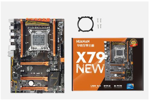Carte mère HUANAN Golden X79 ver1.3 LGA 2011 ATX USB3.0 SATA3 PCI-E NVME support mémoire ECC REG 4*16G et processeur Xeon E5