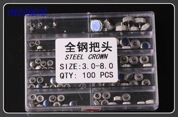Freies Verschiffen 100 stücke Stahl Edelstahl Uhr Kronen Verschiedenen Größen 3,0-8,0mm für Uhrmacher