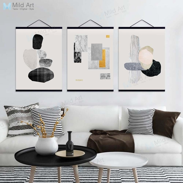 Modern Abstract Black Gray Marble Shape Wooden Framed Hanger Poster Nordic Home Bar Deco Wall Art Picture Canvas Painting Scroll