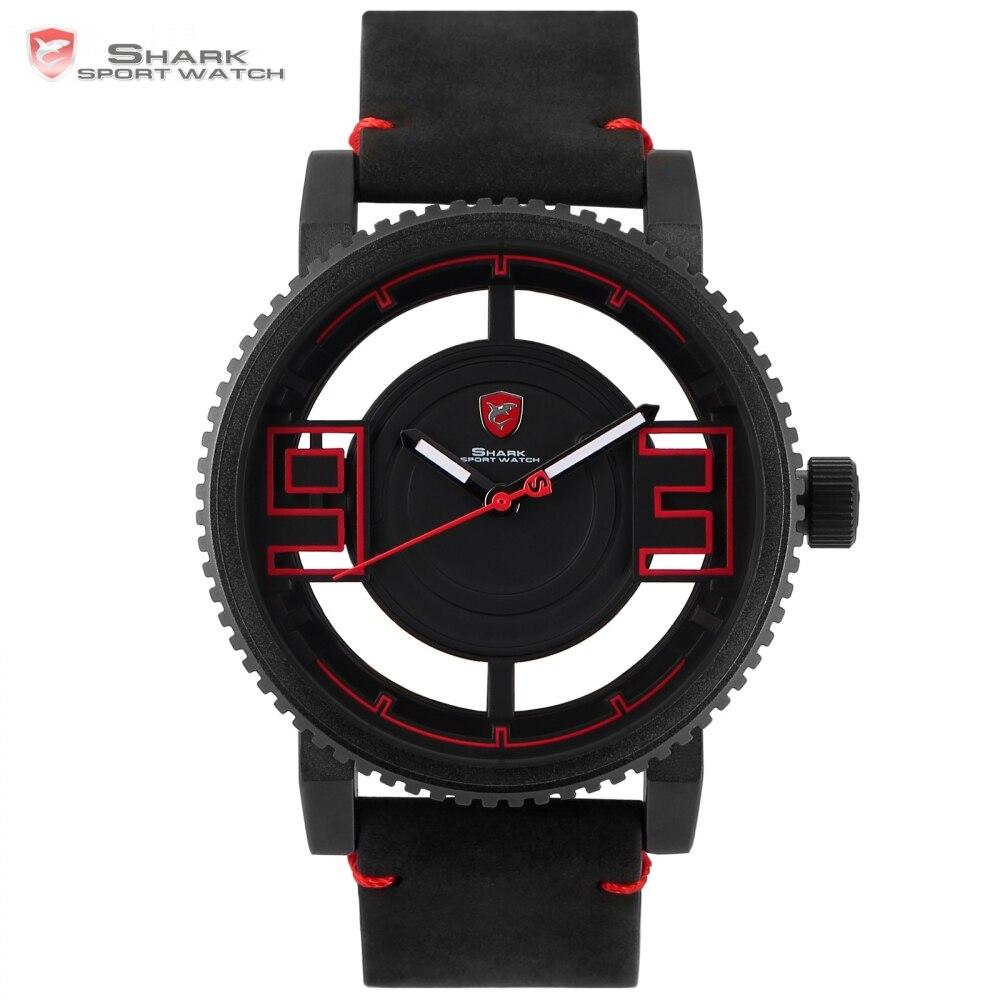 Megamouth Shark Sport Watch Black Red 3 D Special Transparent Designer Top Brand Luxury Leather Band Quartz Men Watches /SH542