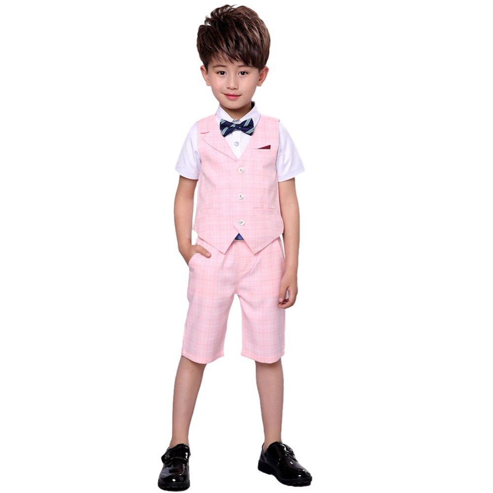 d6030a964 4 Pieces Boys Summer Wedding Leisure Suit Vest Shirt Short with Bowtie  Formal Gentleman Party Blazer Clothing set Sz3 12 years-in Blazers from  Mother & Kids ...