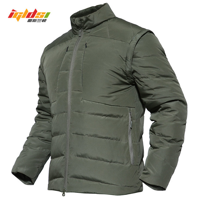 94e219c58af 2018 Winter Warm Tactical Padded Down Jacket Men Waterproof Military Style  Army Jacket Sleeves Detachable Outerwear