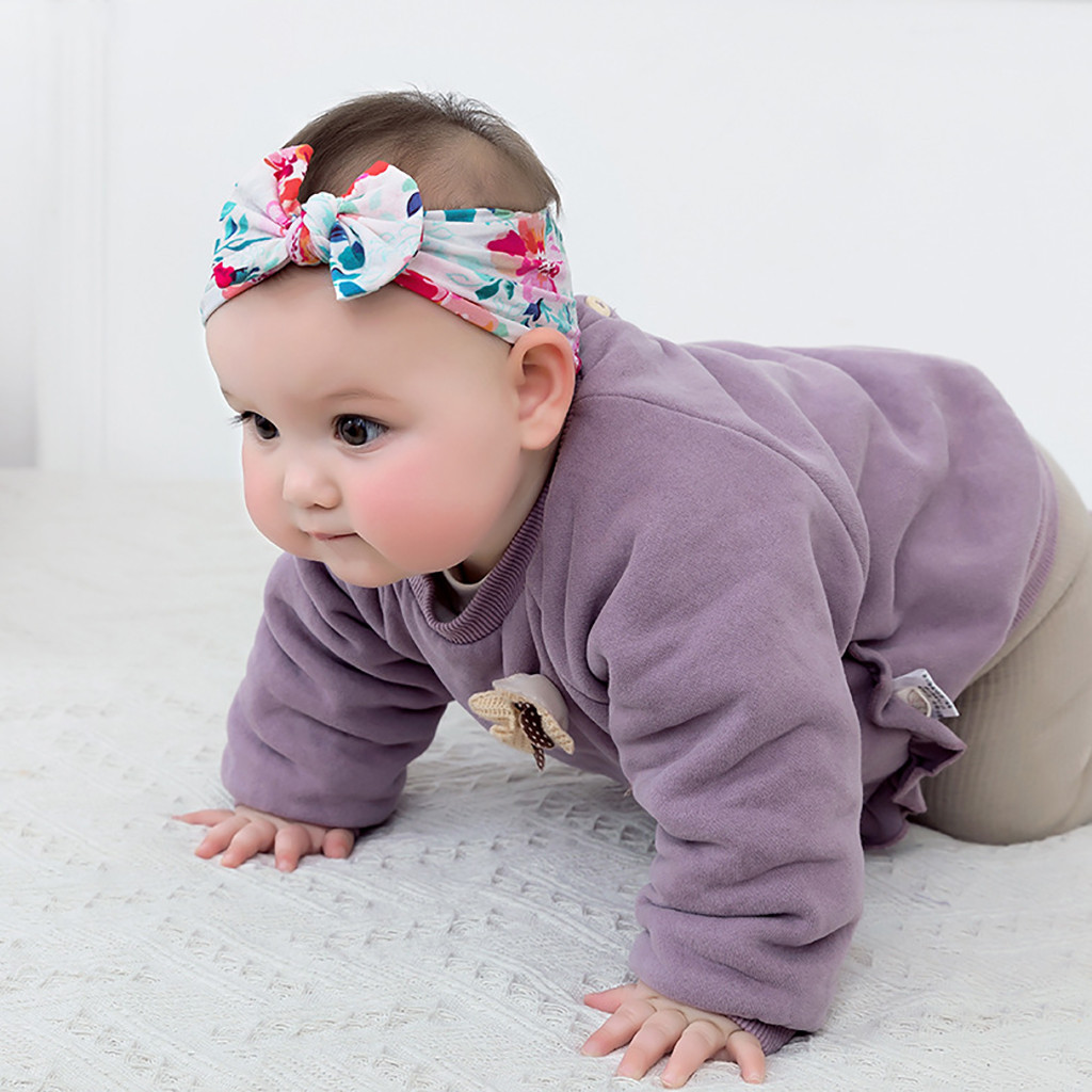 Soft Baby Kids Toddler Bow Hairband Bandeau Turban Big Knot Head Wrap Chapeaux