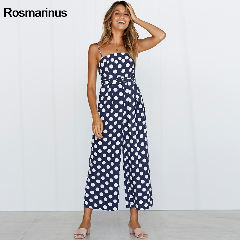 1e17171dd343 Rosmarinus Polka Dot Jumpsuit Women Rompers 2018 Summer Strapless Backless  Sexy Rompers Belted Wide Leg Pants Jumpsuit Overalls-in Jumpsuits from  Women s ...