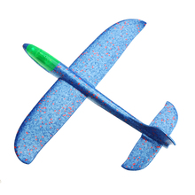 Blue 48cm LED Light Hand Launch Throwing Aircraft Updated Version Airplane With DIY Inertial Foam EPP Plane Toy Sports