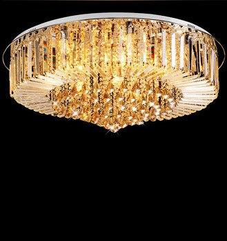 אופנה Ameican K9 קריסטל Led יצירתי יוקרה אוכל מנורת וילה תקרת אור סלון מנורת עגול
