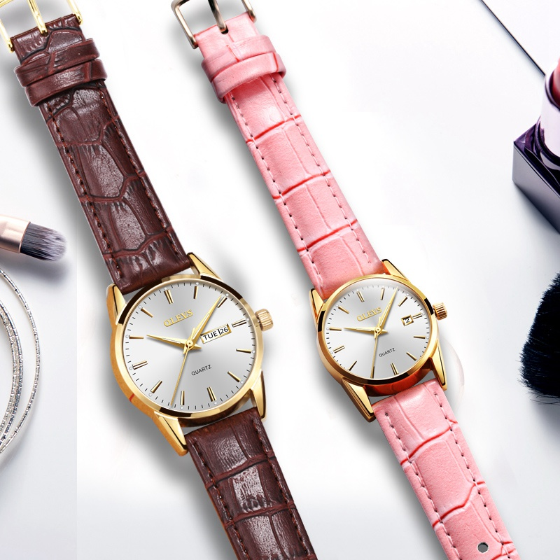 OLEVS Luxury brand Ladies' watches for men 2018 female male couple watch day week clock Luminous Hands waterproof leather saat olevs luminous hands women men quartz watch luxury gold case leather ladies wristwatches steel belt couple lovers watches clock