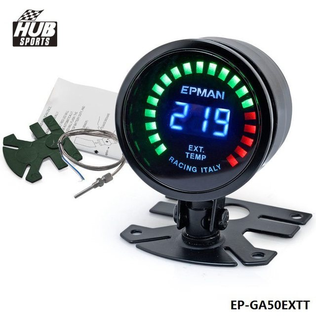 Hubsports - 2015 New EPman racing 52mm Smoked LED Exhaust Gas Temp Temperature EXT Gauge with Sensor EP-GA50EXTT