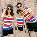 Casual Family Set Rainbow Striped T-shirt+Shorts 2pcs Family Clothing Sets Family Matching Outfit Parent-Child Clothing 3XL MT8