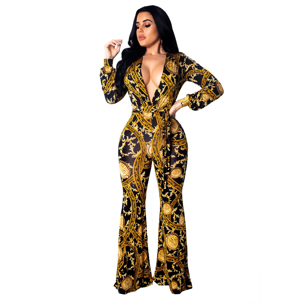 Elegant Gold Print   Jumpsuit   Women Casual Long Sleeve Sexy Deep V Neck Lace Up Bandage   Jumpsuit   Night Club Female Body Overalls