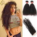 7A Brazilian Virgin Hair Kinky Curly Weave With Closure 3/4 Bundles With Closure,Brazilian Kinky Curly Lace Frontal With Bundles