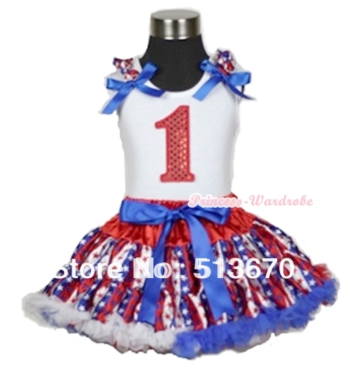 White Tank Top 1st Sparkle Birthday Red White Blue Stripe Star Ruffle Blue Bow & Red White Blue Stripe Star Pettiskirt MAMG599 red black 8 layered pettiskirt red sparkle number ruffle red bow tank top mamg575