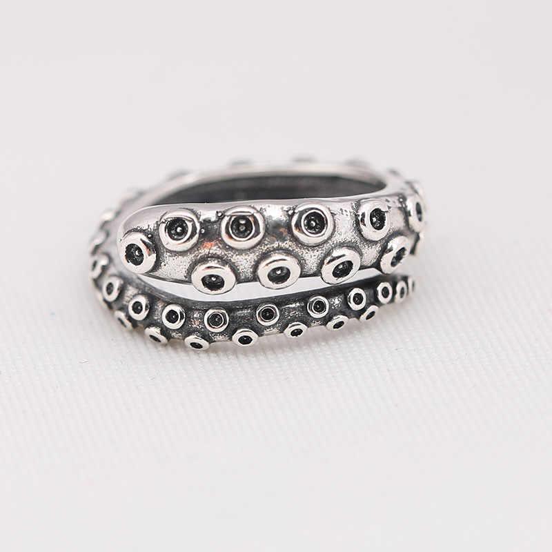 Genuíno 925 prata esterlina vintage octopus tentáculos anel compatível com jóias europeias