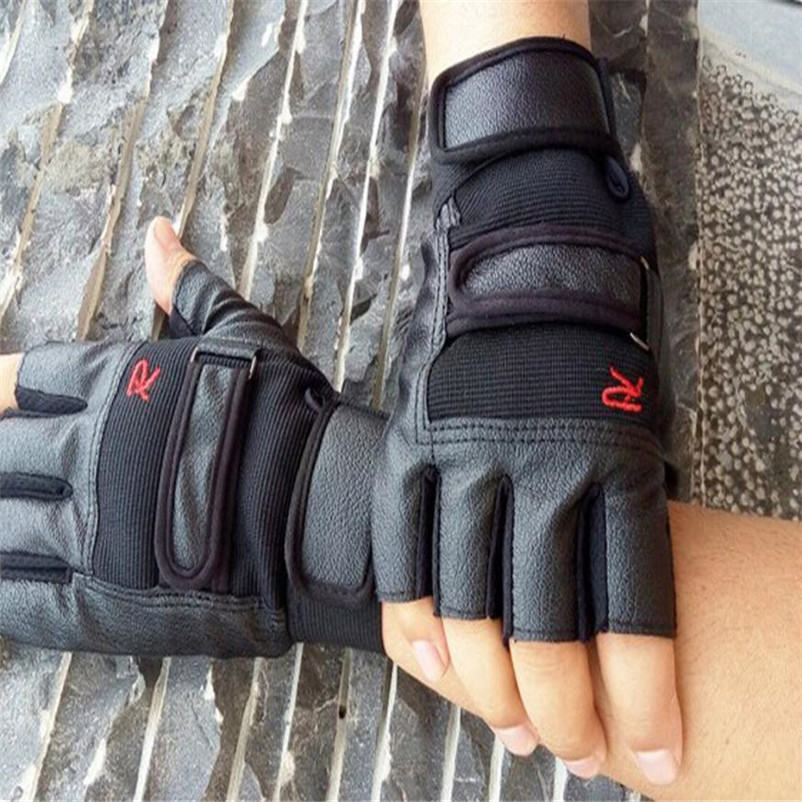 Riding Gloves Men Fitness Work Out Palm Wrist Protection Mitts Half Finger Glove