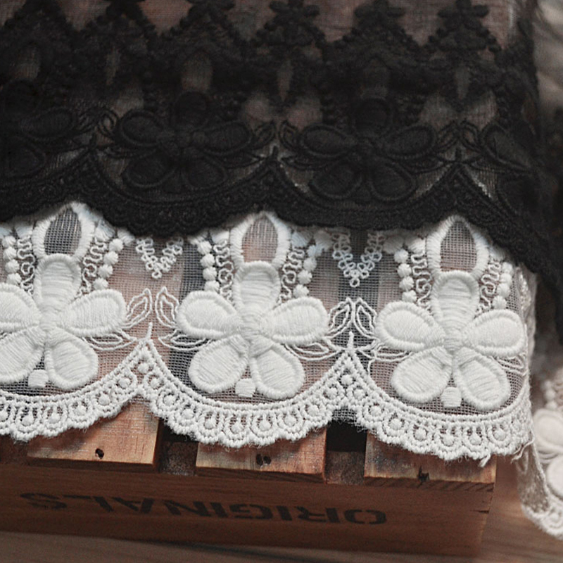 Alta Calidad Blanco Negro Beige Bordado de Gasa de La Vendimia Encaje - Artes, artesanía y costura