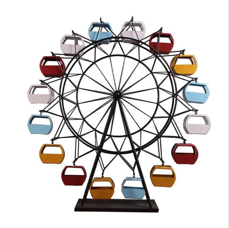 Rueda de Ferris de hierro Retro modelo adornos para manualidades creativo hogar sala de estar tienda mostrador para decoración de escritorio Cabeza de oveja de resina creativa cabeza de cráneo colgante de pared 3D Animal escultura de Longhorn figuritas artesanías cuernos decoración del hogar adornos